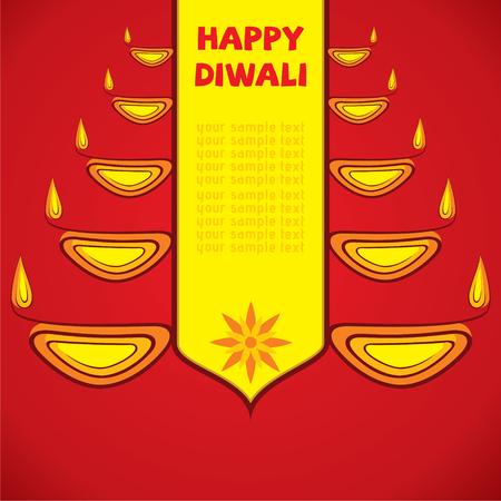 diyas: creative happy diwali greeting design by diyas vector