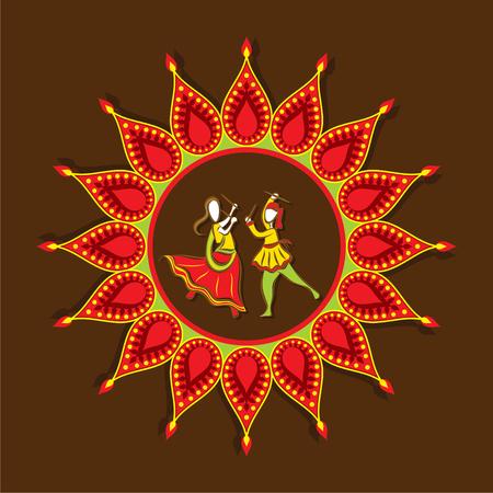 celebrate navratri festival with dancing garba design vector Illustration