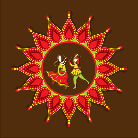 celebrate navratri festival with dancing garba design vector Illustration