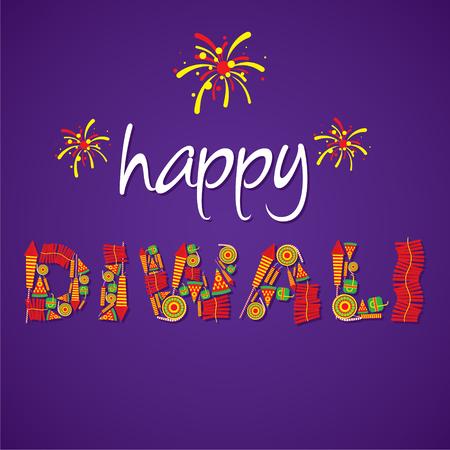 creative happy diwali greeting design by cracker vector