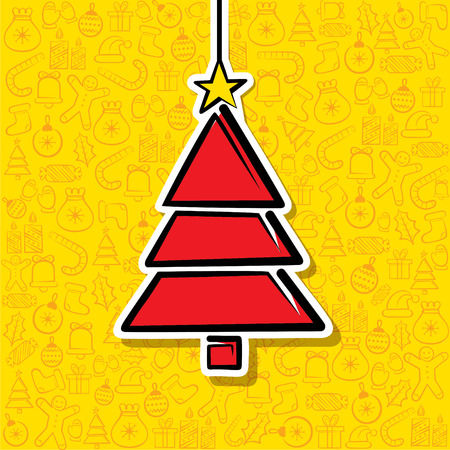 christmas tree label with christmas object pattern background vector