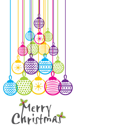 december holidays: merry christmas colorful ball greeting design vector Illustration