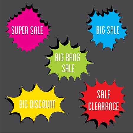 best ad: Flat Style big sale, clearance, super sale  Label Set design