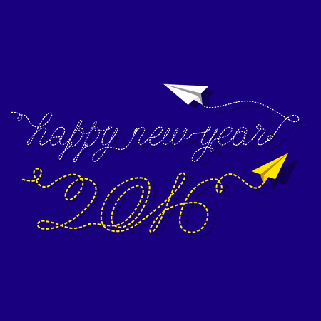 december background: creative new year 2016 greeting design by concept of paper airplane design
