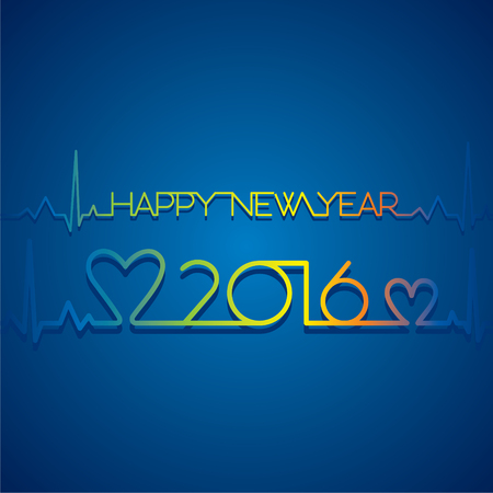 heart beat: creative new year 2016 greeting design by heart beat concept Illustration