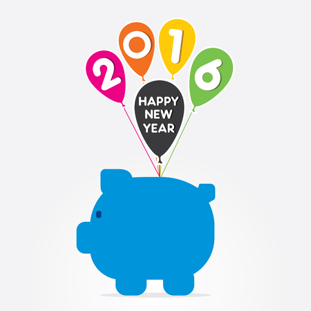 sector: creative new year 2016 greeting design for finance sector vector