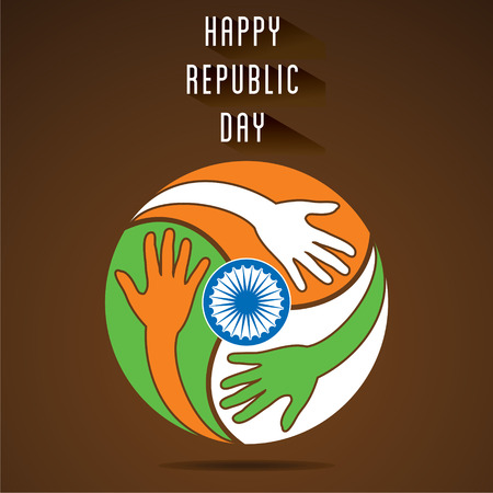 independencia: celebrate happy republic day, every hand join for peace and support vector Vectores