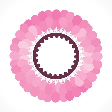 arrange: creative pink balloon bunch arrange round make label design