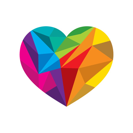 crystal heart: creative colorful valentines crystal heart shape design