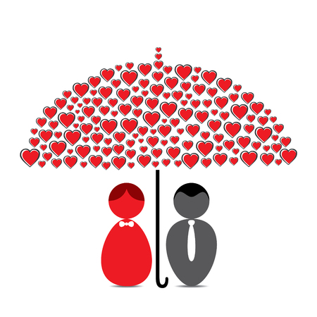under heart: love couple under heart shape umbrella design