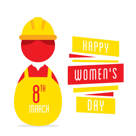 womans day: happy womens day, women working as engineer design Illustration