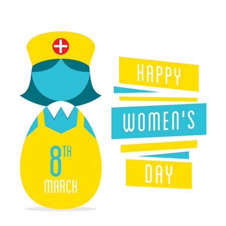 self esteem: happy womens day, women nurse profession design Illustration