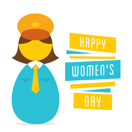 self esteem: happy womens day, work in women police design Illustration