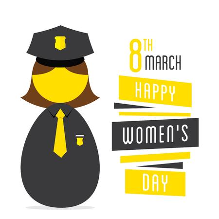 womens work: happy womens day,women police profession design