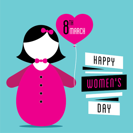 womens work: happy womens day, cute girl with heart shape balloon in hand design