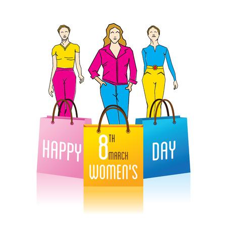 womens work: happy womens day design , fashion model on ramp design