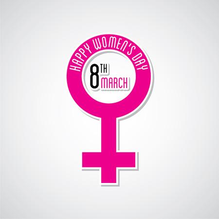 womens work: happy womens day greeting design using female symbol Illustration