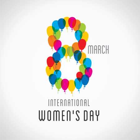 womens work: happy womens day design , 8 design by colorful balloon vector Illustration