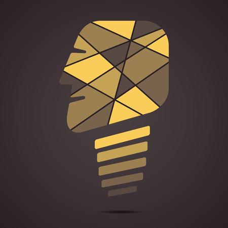 prodigy: creative bulb face vector Illustration