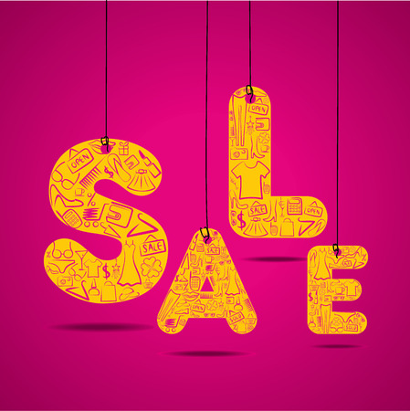 shopping sale: SALE word design with shopping icon design concept vector