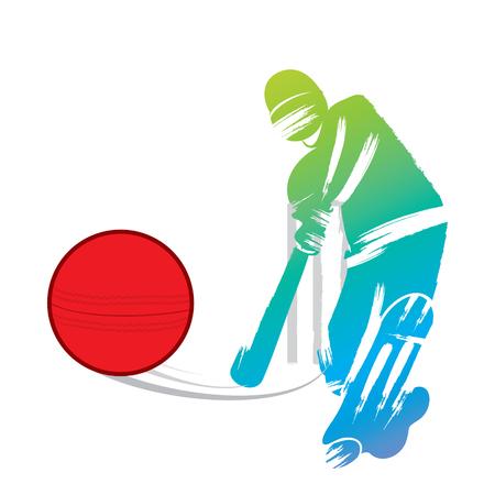 red ball: cricket player design by paint brush stroke design vector Illustration