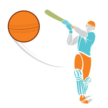 cricket ball: sketch cricket player hit the ball design vector