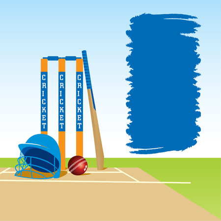 cricketer: cricket ground with stump bat and ball , with message board design vector