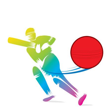 batsman: creative sketch cricket player hit ball design vector