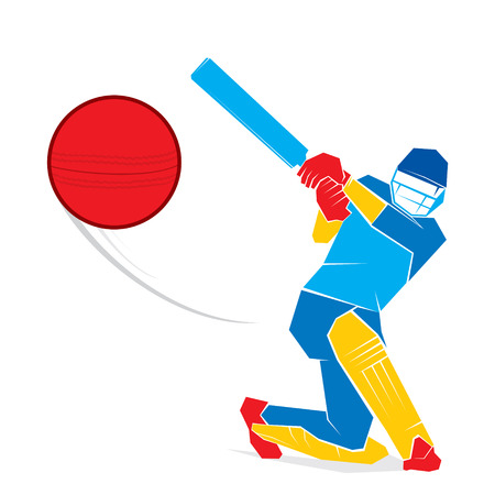 cricketer: cricket player hit big shoot, out of the boundary design vector Illustration