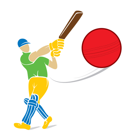 cricket field: cricket player hitting big shoot for four, concept design