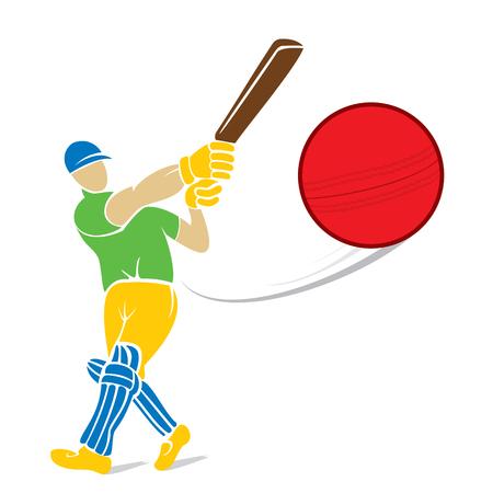 batsman: cricket player hitting big shoot for four, concept design