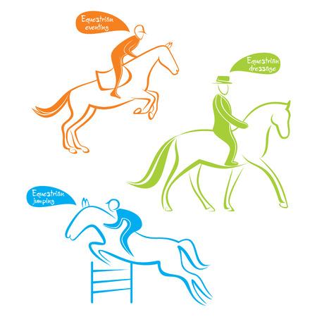 silueta humana: Siluetas de equestrians a los caballos durante las competiciones  Vectores