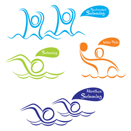synchronized: different water sport design  water polo, swimming etc