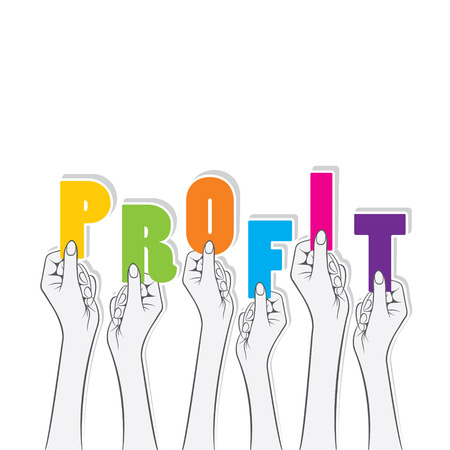 profit word or hold in hand design Vector Illustration