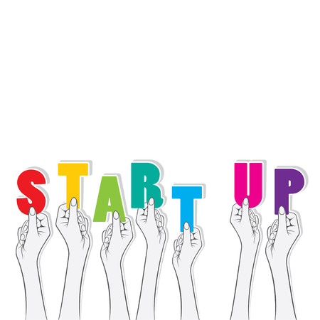 hold up: start up text hold in hand design Illustration