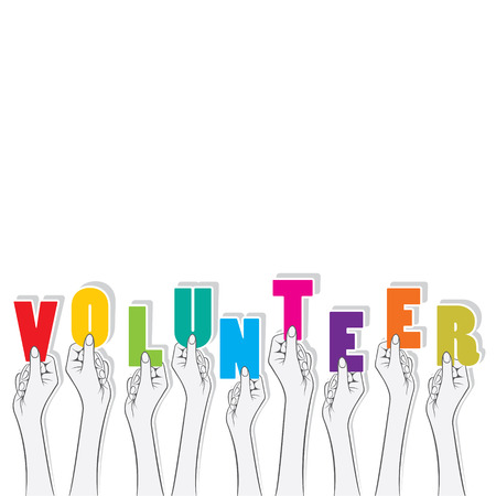 vrijwilliger tekst in hand ontwerp