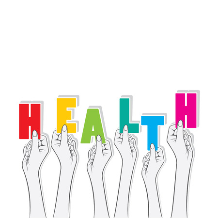 hold: health text hold in hand design