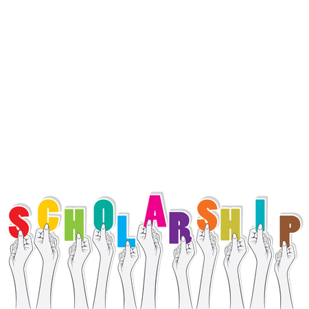 scholarship: scholarship text hold in hand design Illustration