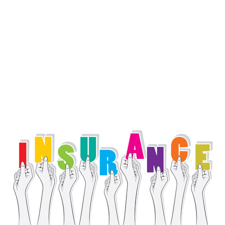 insurance claim: insurance text hold in hand design