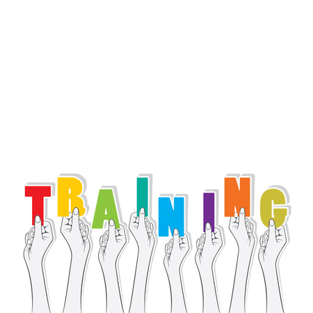 hold: training text hold in hand design Illustration