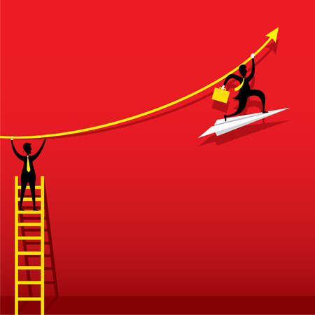 increase business: businessmen help or support for increase business graph concept design vector