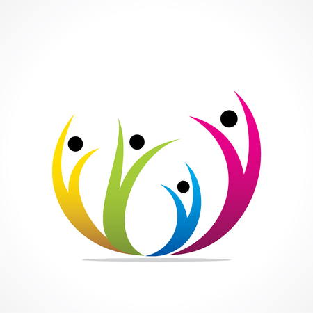 human hands: colorful happy people icon design vector Illustration