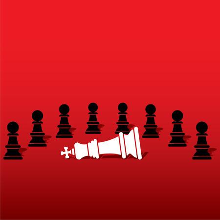 defeat: chess black pawn team defeat white king , teamwork concept design vector Illustration