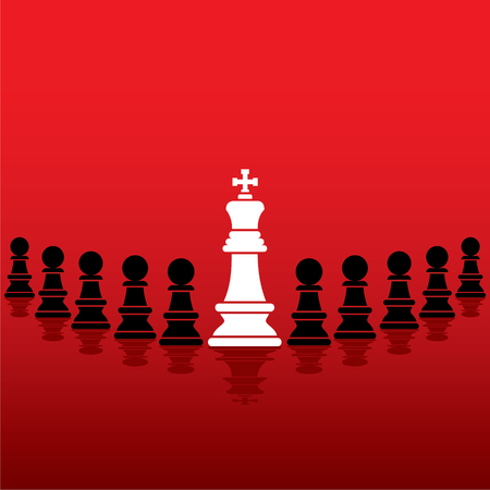 pawn to king: chess white king with black pawn team concept design vector