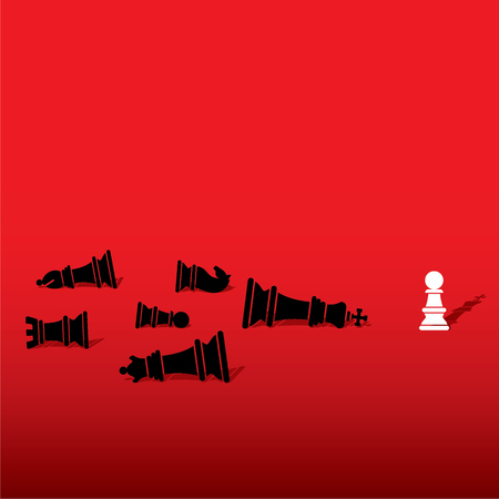 defeat: chess pawn defeat opposite team member and feel like king concept design vector