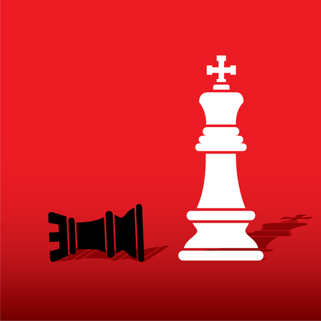 defeat: chess white king defeat black rook concept design vector