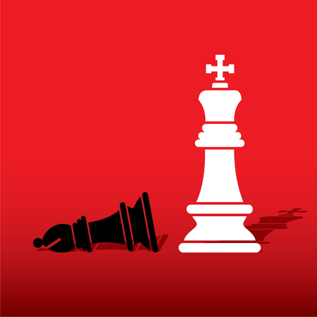 bishop: chess white king defeat black bishop concept design vector