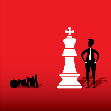 defeat: chess white king defeat black pawn concept design vector