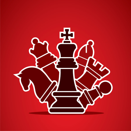 chess set: chess pieces arrange in style manner design vector