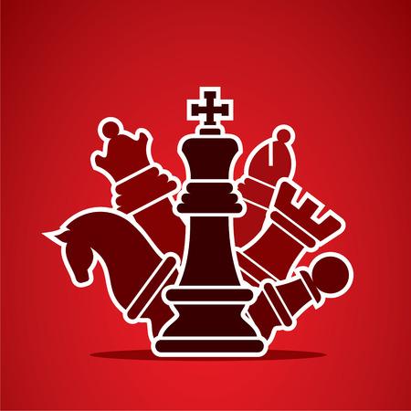 schaakstukken regelen in stijl manier ontwerp vector